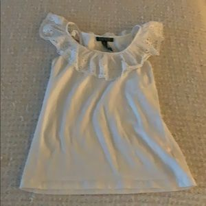 Cotton top with ruffle neck